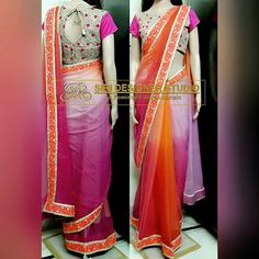SDS-DS4 FABRICS: chiffon and rawsilk. Customized multicolored saree(sun shades) with simple boat neck thread and heavy sequence work blouse and heavy thread work border is given for a dear customer. To place an order plz inbox us or mail us at siridesignerstudio@gmail.com Thank you.