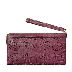 Orla Kiely | UK | Accessories | AW13 Mainline | Sixties Stem Punched Leather Flat Zip Purse (13ABSSP155) | Plum