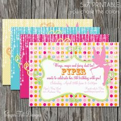 Fairy Birthday Party Invitation Magical Fairy by SugarTotDesigns, $12.00