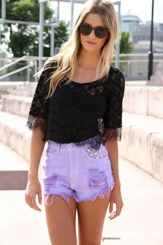 Lavender Studded Shorts