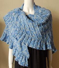 Ruffled Shawl - Merino 5 superwash  -   free knit shawl  pattern  -  Crystal Palace Yarns