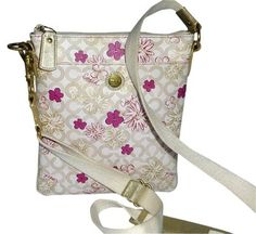 Coach Floral Coated Canvas Brass Cross Body Bag