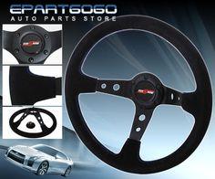 350mm Blue JDM Spoke Steering Wheel+Gold Release+Hub for 92-95 Civic EG//DelSol