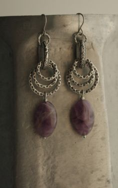 Metal Rings & Purple Stone Earrings