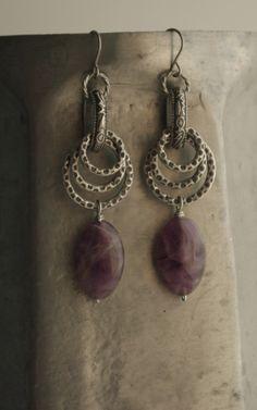 Metal Rings & Purple Stone Earrings