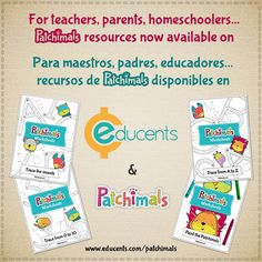 We are happy to announce that our resources are now available on Educents. Visit us: https://www.educents.com/patchimals. Download, buy, review, share! New products coming soon, including spanish items. Estamos felices de anunciar que nuestros recursos están disponibles en Educents. Visítanos: https://www.educents.com/patchimals. ¡Descarga, compra, califica, comparte! Próximamente, nuevos productos, también en Español. ‪#‎resources‬ ‪#‎worksheets‬ ‪#‎patchimals‬ ‪#‎educents‬ ‪#‎educational‬