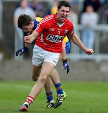 Cadbury\'s GAA Football All-Ireland Under 21 Championship Semi-Final Cork vs Roscommon. Cork\'s Mark Sugrue celebrates scoring a goal.