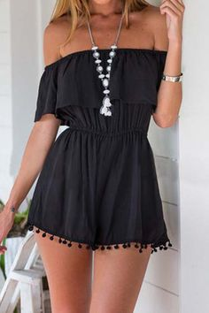 Black Front Layered Off Shoulder Playsuit - US$15.95 -YOINS