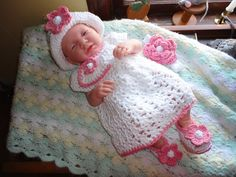 Crocheted Infant Newborn Baby Girl Set  by Flamencreations on Etsy