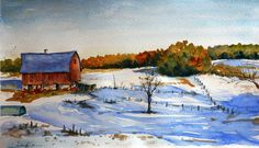 """My work: watercolor painting- """"The old barn"""""""