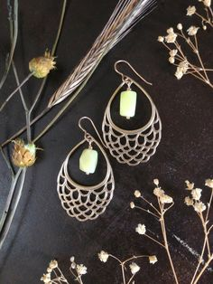 3d printed bronze earrings with jade