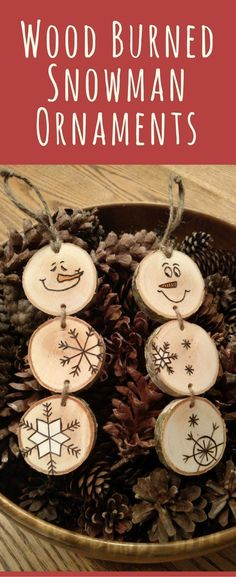 Wood Burned Snowman Christmas Ornaments, Stacked Snowman Ornaments, Rustic Christmas ornaments, Rustic ornament, Christmas tree ornament, Snowman decor Christmas Gift Tags on white birch wood #ad