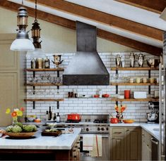 Simple Industrial Shelving Ideas To Accent Your Brick & Steel Decor Industrial Chic Modern Kitchen Decor 1 Industrial Kitchen Design, Kitchen Cabinet Design, Industrial Chic, Industrial Shelving, Industrial Decorating, Industrial Furniture, Industrial Kitchens, French Industrial, Ranch Kitchen Remodel