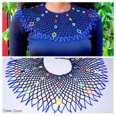 The little colourful beads have a sparkling effect within the black. this beautiful necklace is lovely when worn. You can combine it just as easy with a simple plane t-shirt for a more casual look - as with a pretty strapless dress to impress. African Beads Necklace, African Jewelry, Beaded Collar, Beaded Choker, Bead Jewellery, Beaded Jewelry, African Traditional Wedding Dress, Beaded Cape, African Accessories