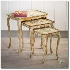 Shabby Chic Decorating: Borrow Rachel Ashwell& 3 Signature Looks Simply Shabby Chic, Shabby Chic Style, Shabby Chic Decor, Distressed Furniture, Shabby Chic Furniture, Victorian Furniture, Country Furniture, Shabby Chic Nest Of Tables, Painted Chairs