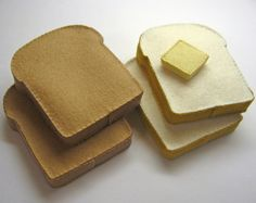 Wool Felt Play Food - Bread Slices with Butter Pat - Waldorf Inspired Heirloom…