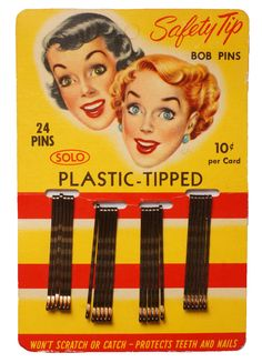 """This is a full card of 1950s era bobby pins made in Canada by Solo Products Ltd. They are advertised on the card as having """"stronger gripping power"""" with """"lustre finish"""" and made with """"special steel""""."""
