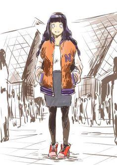 Modern Hinata wearing Naruto's jacket