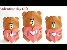 Bear Origami, Cute Origami, Origami Heart, Best Valentine Gift, Bear Valentines, Valentine Day Crafts, Origami Birthday Card, Birthday Cards, Teddy Day