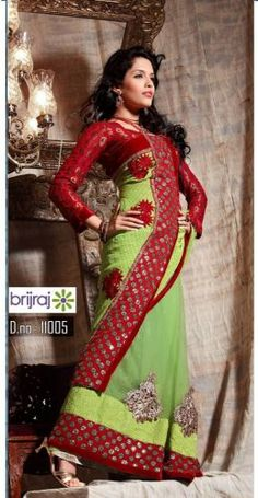 Green & Red Net Saree