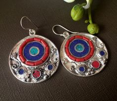 Silver Eye EarringsTurquoise Lapis Coral by taneesijewelry on Etsy