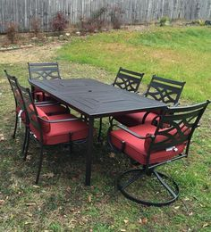 Hampton Bay Middletown 7-Piece Patio Dining Set with Dragonfruit Cushions D11200-7PC at The Home Depot - Mobile
