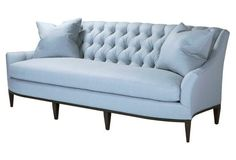 "Riley 90"" Tufted Sofa, Blue"