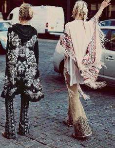 bell bottoms, braids, bohemian
