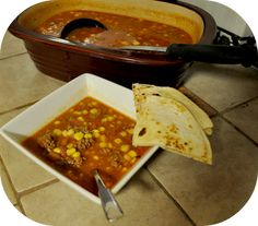 Taco Soup in the DCB - ready in just 15 minutes!-Best Taco soup yet Pampered Chef Recipes, Baker Recipes, Crockpot Recipes, Soup Recipes, Great Recipes, Cooking Recipes, Favorite Recipes, Rockcrok Recipes, Gf Recipes
