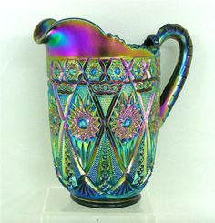 Diamond Lace Carnival Glass pitcher... so beautiful!!!