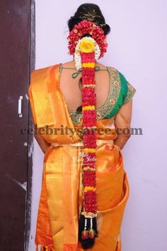 Exclusive Collection of Indian Celebrity Sarees and Designer Blouses Indian Wedding Hairstyles, Bridal Hairstyle, Mirror Work Blouse, Indian Flowers, Saree Blouse Patterns, Bridal Blouse Designs, Jelsa, Indian Celebrities