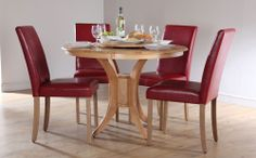 Round Dining Room Sets | Buy Somerset Round Dining Table and 4 City Chairs Set (Red) at ...