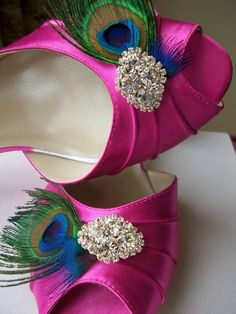 Pink peacock wedding shoes ... Wedding ideas for brides, grooms, parents & planners ... https://itunes.apple.com/us/app/the-gold-wedding-planner/id498112599?ls=1=8  The Gold Wedding Planner iPhone App ...