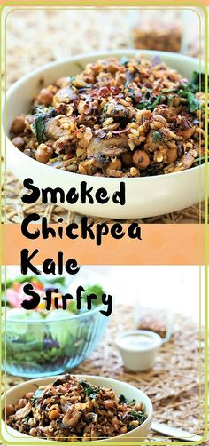 Smoked Chickpea Kale Stirfry is a one pot meal that is ready in fifteen minutes and all you need for a quick dinner. Vegan, gluten free and dairy free. Chickpea Recipes, Vegan Recipes Easy, Easy Dinner Recipes, Real Food Recipes, Vegetarian Recipes, Kale Recipes, Vegan Dinners, Delicious Recipes, Bread Recipes
