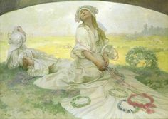 Alphonse Mucha, 'Song of Bohemia' (1918). Oil on canvas. A musical theme is depicted in this painting which was reproduced in the Zlatá Praha magazine in 1918 with the title 'Our Song'. Source.