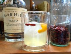 We recently discovered Barr Hill Vodka, which is distilled with raw honey and has a really unique sweet flavor. The vodka is so good that it needs very little -
