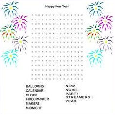 word finds, new years - Bing Images