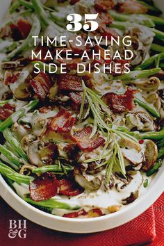 """Everything is better with bacon—including this green bean casserole. As one reviewer says, this is a """"fantastic ADULT version of this classic dish,"""" thanks to fresh green beans and the addition of hearty mushrooms. #thanksgiving #sides #thanksgivingsides #makeaheadrecipes #thanksgivingdinner #bhg Thanksgiving Sides, Thanksgiving Recipes, Holiday Side Dishes, Green Bean Casserole, Make Ahead Meals, Fresh Green, Side Dish Recipes, Food Dishes, Green Beans"""