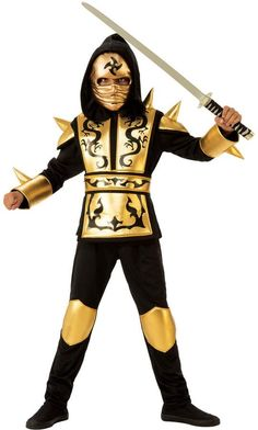 Kids Gold Ninja Costumes Medium 641143 - Contains: Hooded Shirt, Pants, Belt and Mask Kids Costumes Boys, Boy Costumes, Vampire Costumes, Pirate Costumes, Ninja Halloween Costume, Halloween Kids, Halloween Makeup, Sewing Kids Clothes, Easy Diy