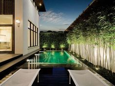 Modern Landscape Of Outdoor Area Design With Swimming Pool home trends design photos, home design picture at Home Design and Home Interior Modern Landscape Lighting, Modern Landscape Design, Modern Garden Design, Landscape Plans, Modern Landscaping, Outdoor Landscaping, Landscaping Design, Bamboo Landscape, Bamboo Garden
