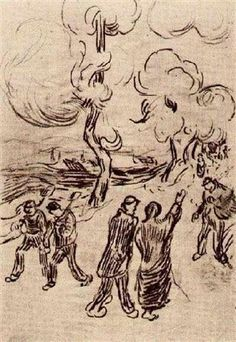 Several Figures on a Road with Trees - Vincent van Gogh