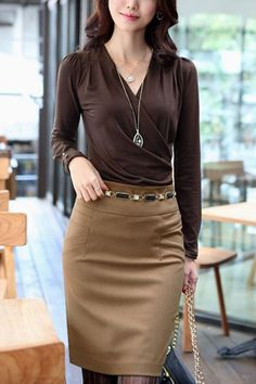 Office Lady Wrap-style Long Sleeve Blouse $26.00