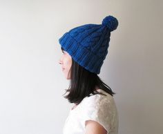 Cable Knit Hat in Blue Hand Knit Beanie with by naryaboutique
