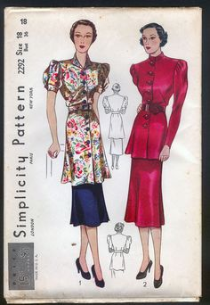 1930 Simplicity Pattern - Ladies' Dress In Tunic Style