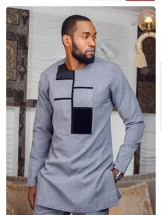 Ana African Men Clothing,Blue And Grey Embroidery African Dashiki suit, Bespoke men's dashiki prom d