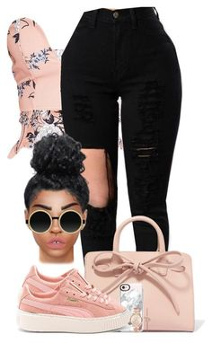 A fashion look from March 2017 featuring pink shirt, puma shoes and studded backpacks. Browse and shop related looks. Teen Girl Outfits, Outfits For Teens, Summer Outfits, Cute Outfits, School Outfits, Fashion Games, Fashion Outfits, Womens Fashion, Fashion Ideas