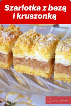 Szarlotka z bezą i kruszonką – Famous Last Words Dessert Cake Recipes, Mini Desserts, Cookie Desserts, No Bake Desserts, Polish Desserts, Polish Recipes, White Chocolate Raspberry Scones, Slow Cooker Beef Curry, Homemade Cakes