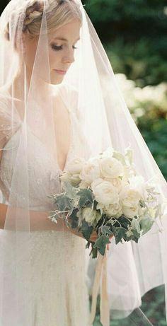 Bride's Elegant Bouquet Featuring: White Ranunculus, White English Garden Roses, Blushing Bride Protea, Dusty Miller & Green English Ivy
