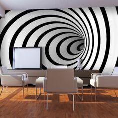 Fototapeta - Černá a bílá 3D tunel 450x270 cm