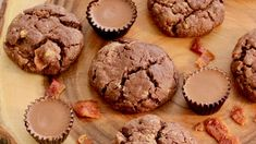 Chocolate, Peanut Butter, and Bacon Cookies Recipe Cookies Cupcakes And Cardio, Bacon Cookies, Cookies Et Biscuits, Chocolate Peanuts, Chocolate Cookies, Bacon Balls Recipe, Chocolate Photos, Chocolate Powder, Reeses Peanut Butter